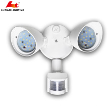 20W Dual-Head Motion-Activated LED Outdoor Security Light with wall mounting